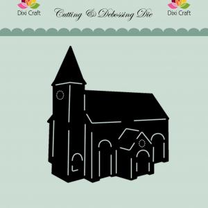 Die Craft Die figur med sort kirke og lyseblå baggrund